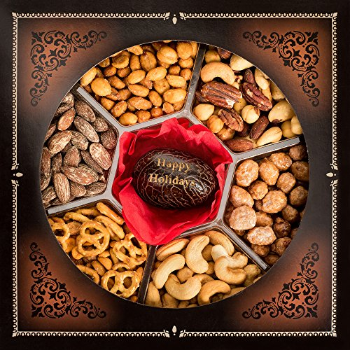 """Jaybee's Nut Gift Platters – Beautiful Tagua Nut Center Engraved with """"Happy Holidays"""" - Sectional Tray With 6 Assorted Gourmet Flavors – Pretty Party (Sectional Center)"""