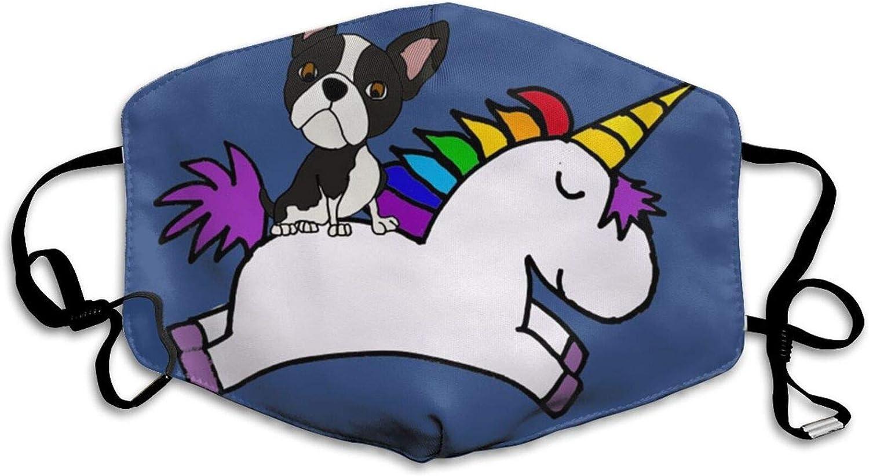 Divertido Boston Terrier montar a caballo unicornio ajustable anti polvo boca cómoda lavable media cara protección
