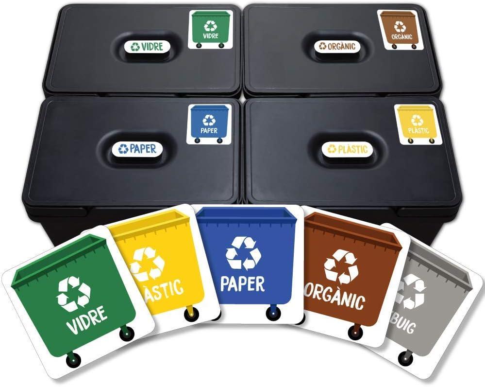 Haberdashery Online 5 Etiquetes Adhesives per al Reciclatge dEscombraries Adhesius per a la gesti/ó de residus Cadascuna de 4,8 x 4,8 cm.