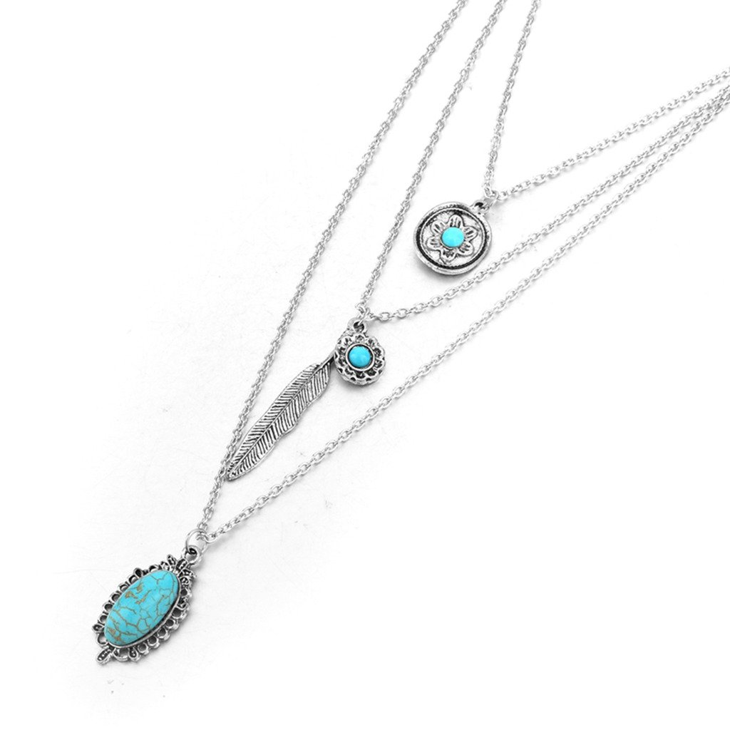 Long Way Vintage Multilayer Feather Flower Turquoise Pendant Necklace Long Coat Women's Chain (Antique Silver Plated)