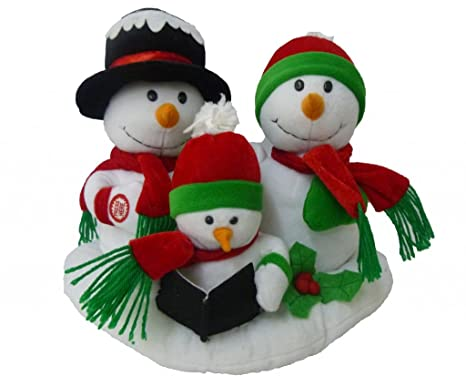 singing snowman family trio polyester musical animatronic plush toy christmas collectible - Animatronic Christmas Decorations