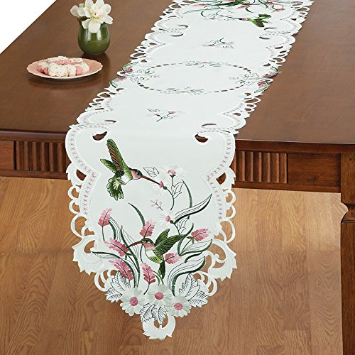 Collections Etc Embroidered Floral Hummingbird Table Linens, (Embroidery Table Runner)