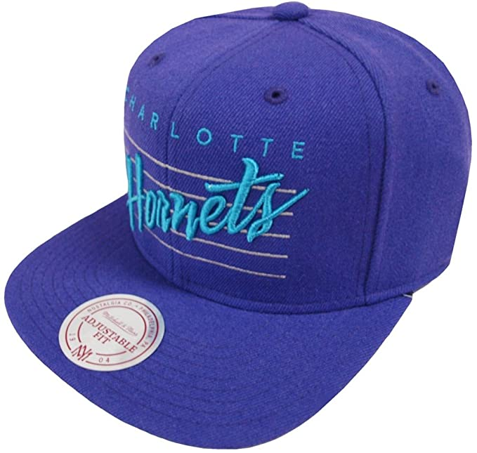 Image Unavailable. Image not available for. Color  Mitchell   Ness Charlotte  Hornets VJ61Z Cursive Retro Script Snapback Cap Purple 04b82c4dee1