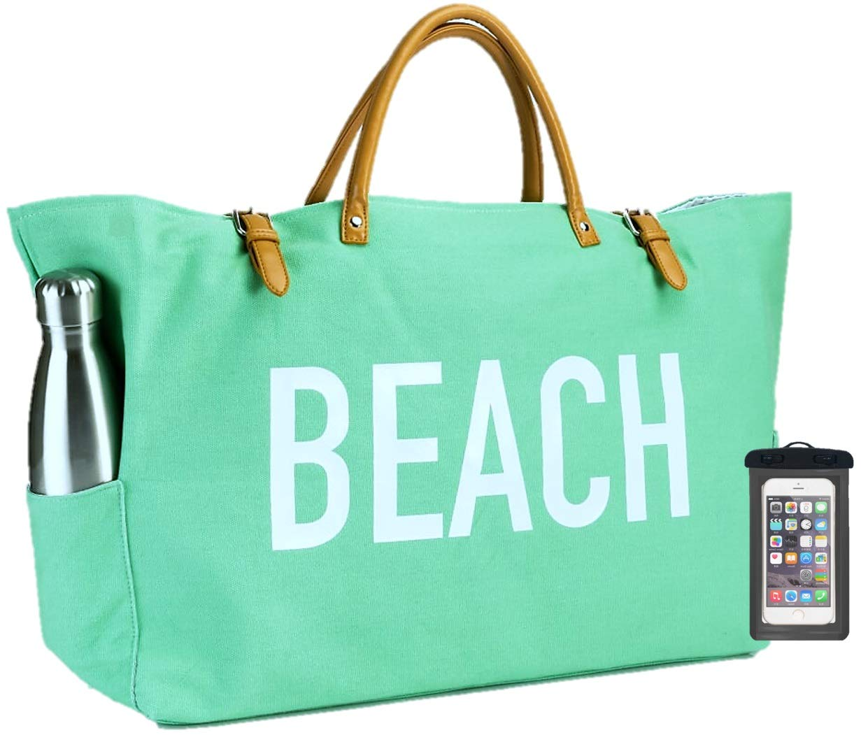 (New) PACO Large Canvas Beach Bag Travel Tote (Seafoam Green), Waterproof Lining, 3 Large Pockets, FREE Phone Case …