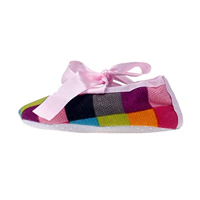 AutumnFall® Kids Baby Bowknot Colorful Lattice Printing Newborn Cloth Shoes (12, Multicolor )