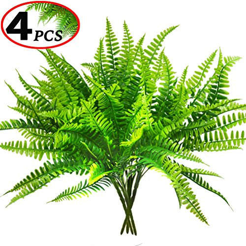 Artificial Boston Fern Bush Plant Shrubs Greenery Bushes for Indoor Outside Home Garden Office Verandah Wedding Decor- 4 Bunches by Antspirit