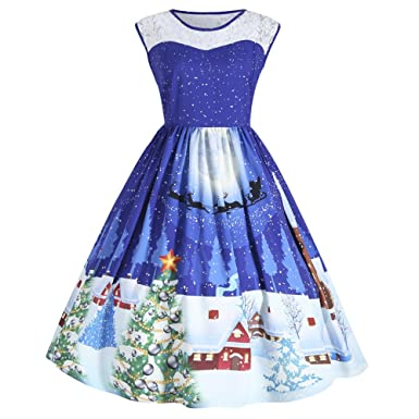 b4e52cf7a276 DressLily Women's Christmas Santa Claus Print Sleeveless Plus Size Party  Swing Pin Up Dress with Lace