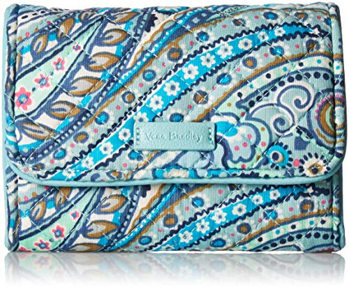 Vera Bradley womens Iconic RFID Riley Compact Wallet, Signature Cotton, Daisy Dot Paisley, One Size