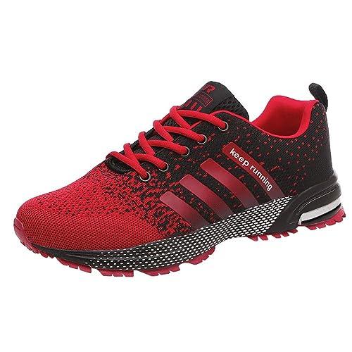 Padcod Zapatillas Deporte Hombre Zapatos para Correr Athletic Cordones Air Cushion 3cm Running Sports Sneakers 36-47 Negro Negro-Blanco Azul Rojo: ...