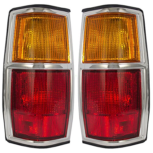 Pickup Tail Light Chrome Trim (Driver and Passenger Taillights Tail Lamps with Chrome Trim Replacement for Nissan Pickup Truck 2655910W00 2655410W00)
