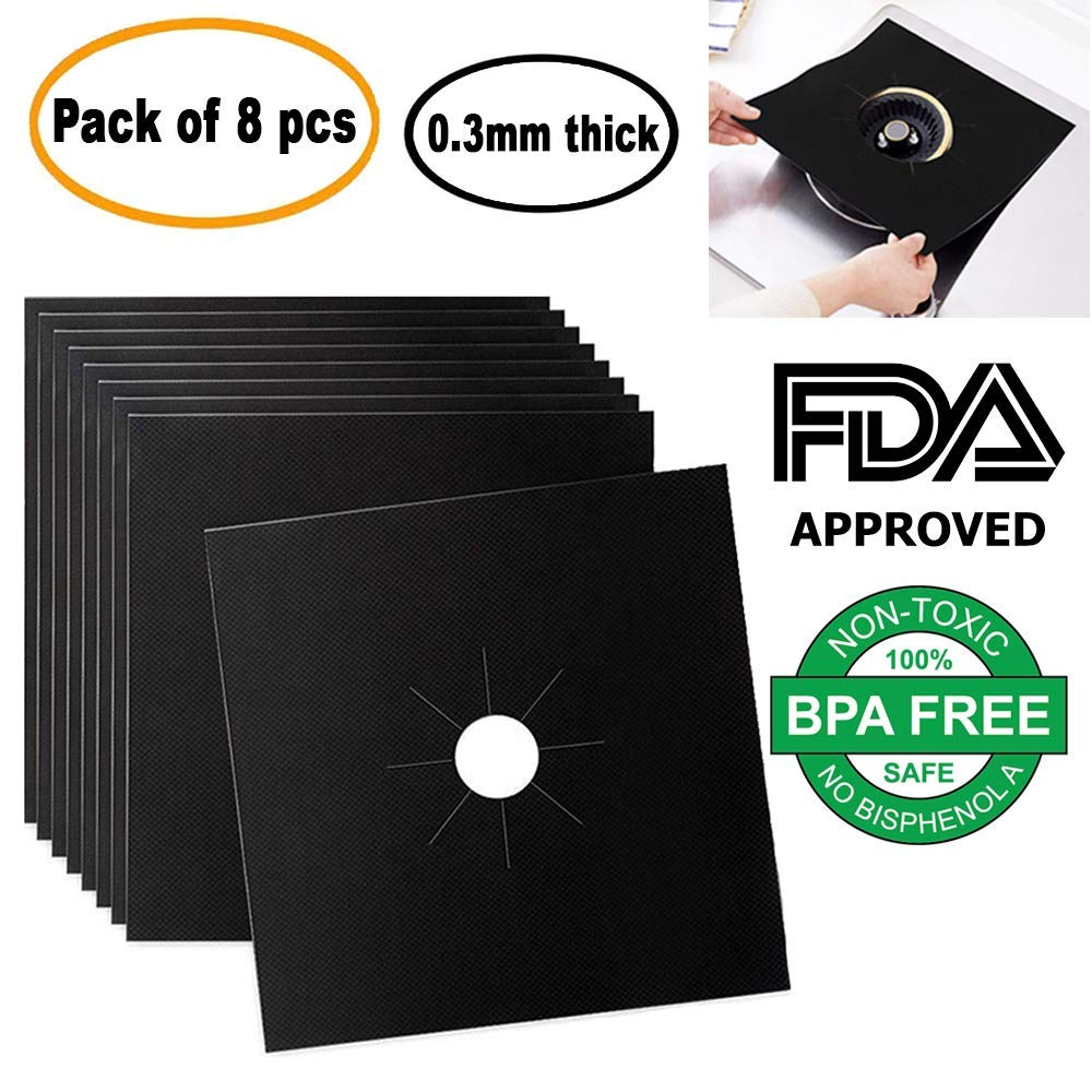 Gas Stove Burner Liners - 0.3 MM Thick Heavy Duty PTFE Material, FDA Approved, Non-Stick, Non-Toxic, Reversible and Reusable Stove Top Burner Covers (Black, ...