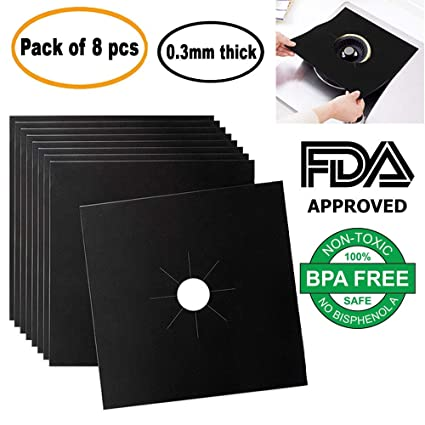 Gas Stove Burner Liners - 0.3 MM Thick Heavy Duty PTFE Material, FDA Approved,