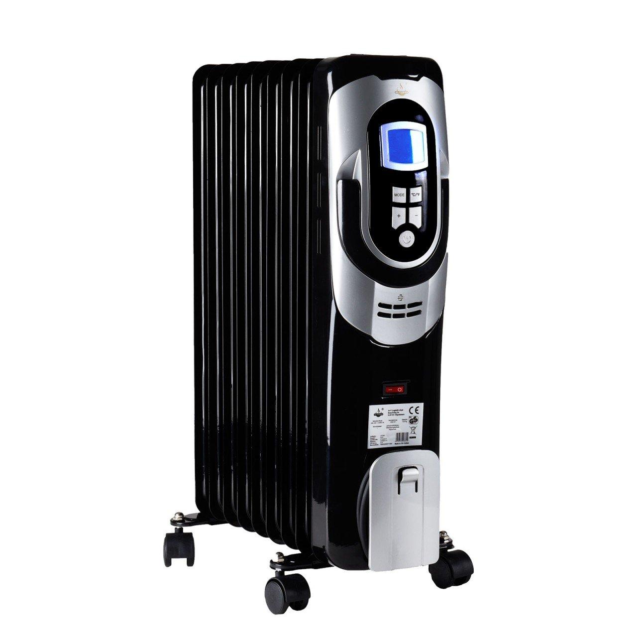 Móvil Radiador Eléctrico calefactor 3 niveles de calor 2000 W con pantalla LCD 9 costillas el Fuego: Amazon.es: Bricolaje y herramientas