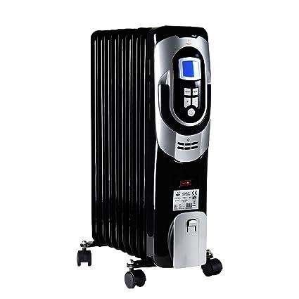 Móvil Radiador Eléctrico calefactor 3 niveles de calor 2000 W con pantalla LCD 9 costillas el