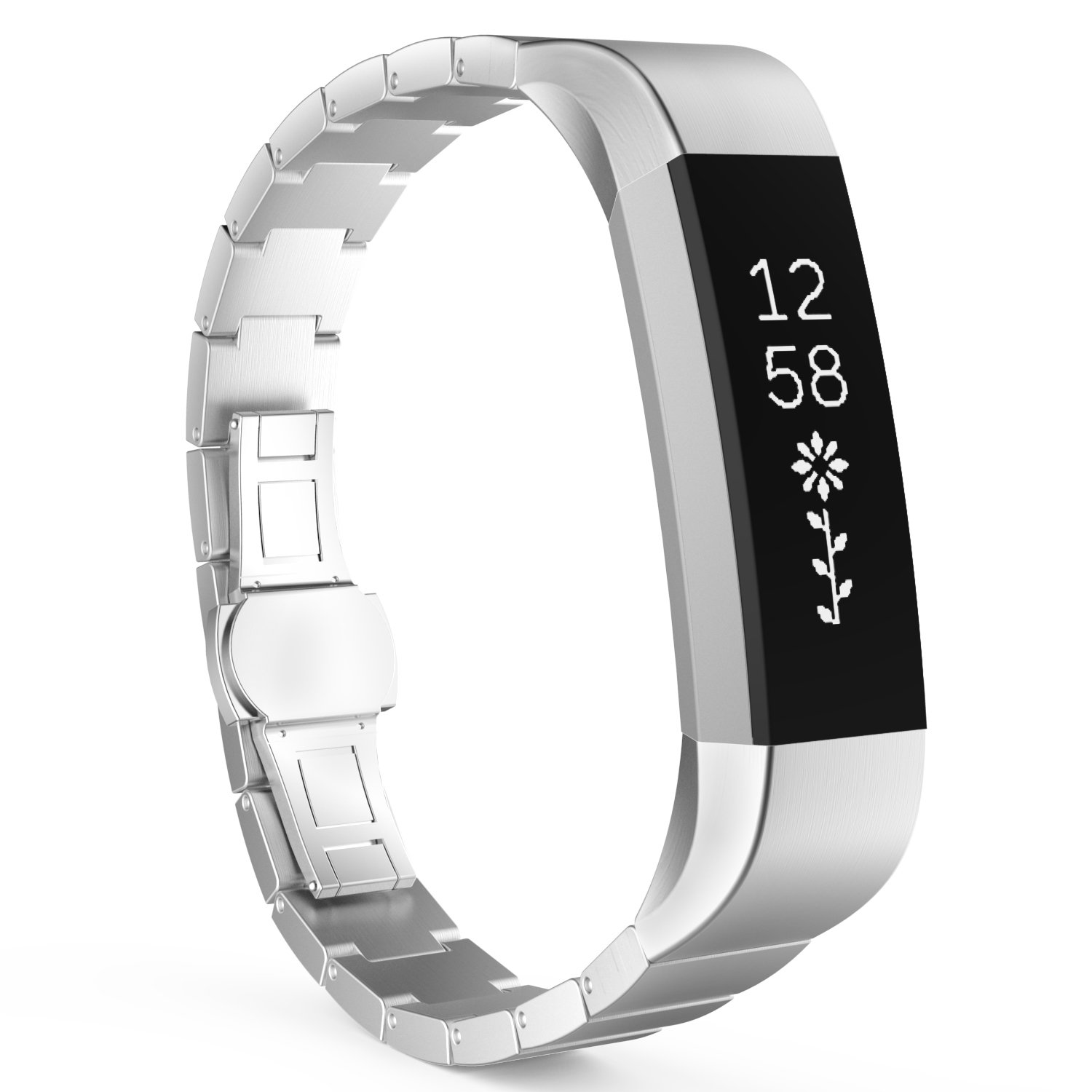 MoKo Fitbit Alta HR and Alta Band, Stainless Steel Replacement Smart Watch Wrist Strap Bracelet with Butterfly Buckle Clasp for Fitbit Alta/Fitbit Alta HR, Fits 5.11''-8.07'' Wrist, Silver by MoKo