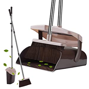 YaYbYc Broom and Dustpan Set with Lid Super Long Handle Lobby Broom with Dust Pan Teeth for Self-Cleaning Home Kitchen Office Garage Barber Shop Indoor Outdoor Use and Upright Dustpan Broom Set