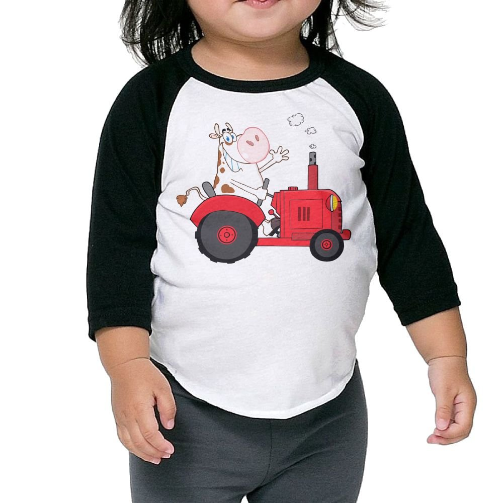 SH-rong Cow Driving Red Tractor Toddler 3//4 Sleeve T-Shirt