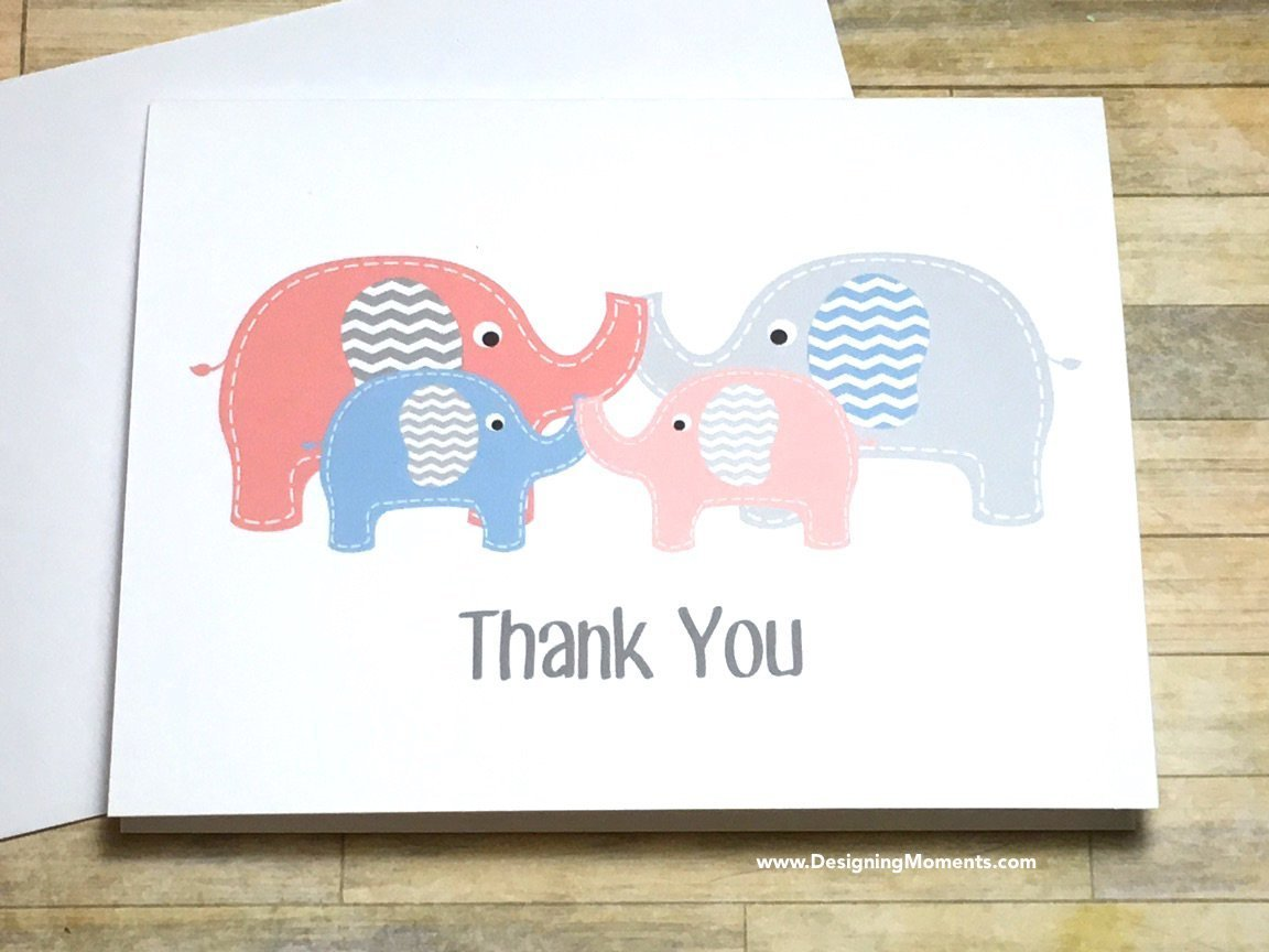 Twins Thank You Cards - Twin Elephant Baby Shower Thank You Card Set, Baby Shower Thank You Cards, Elephant Thank You Cards, Twins Cards