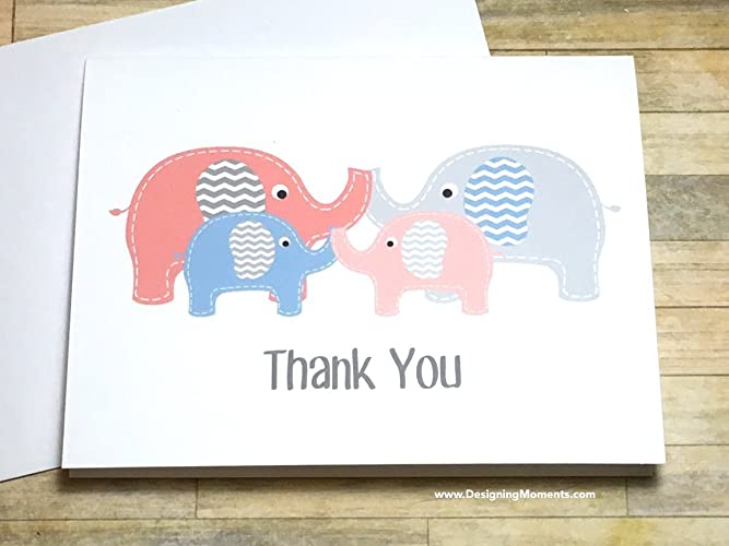 Amazon Com Twins Thank You Cards Twin Elephant Baby Shower Thank