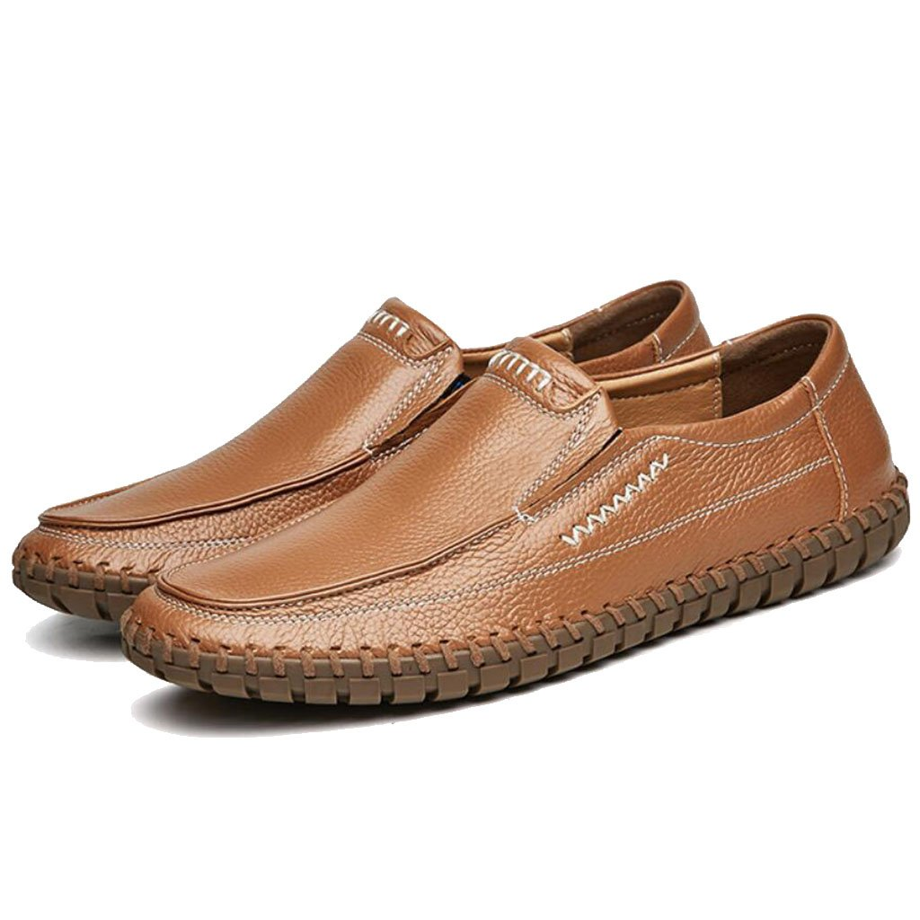GAOLIXIA Zapatos de frijoles de cuero para hombres Zapatos resistentes al deslizamiento antideslizantes para primavera Zapatos de conducción para caminar al aire libre Negro Azul Marrón Blanco Amarillo Tamaño grande: 38--47 ( Color :
