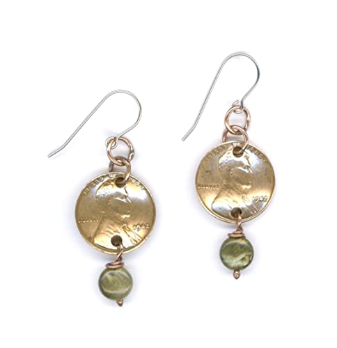 75th Birthday Gift Ideas For Women 1942 Penny Earrings With Labradorite Beads