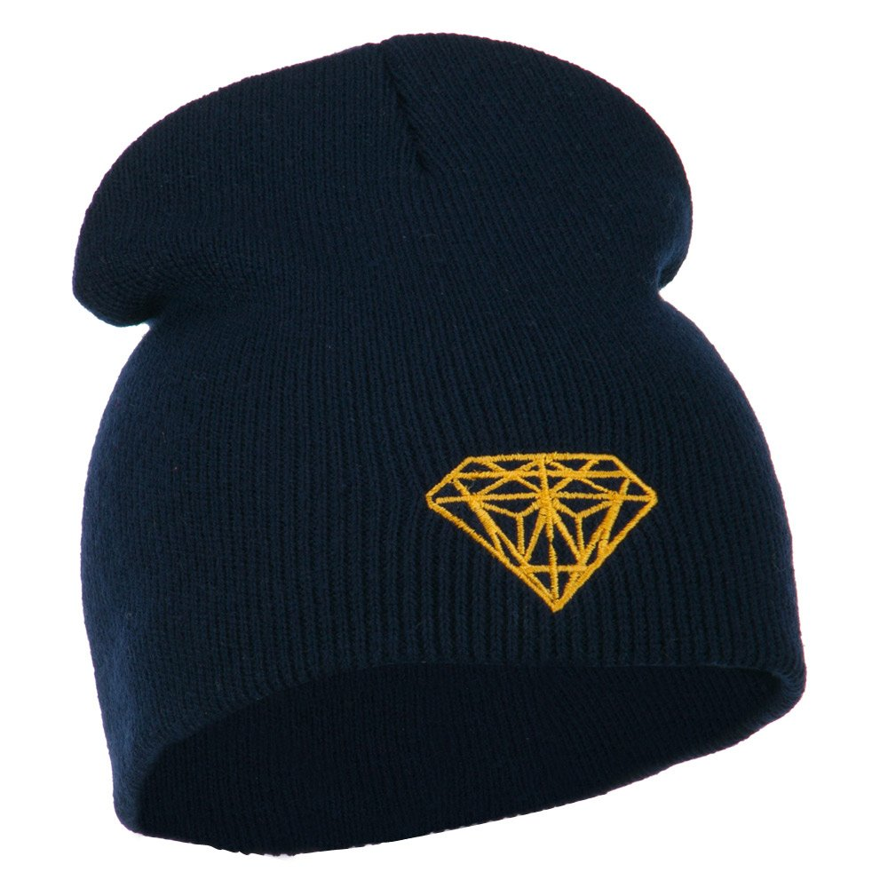 Navy Gold Diamond Embroidered Youth Short Beanie