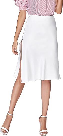 Lady Shiny Patent Leather Pencil Skirt High Rise Split Zip Bodycon Dress Fgg66