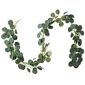 Belle Fleur Faux Eucalyptus Garland 6FT, 147 Pcs Leaves Christmas Greenery Garland for Wedding Backdrop Table Runner Decor