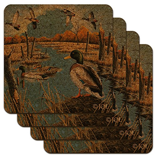 Ducks in the Lake and in Flight Low Profile Novelty Cork Coaster Set