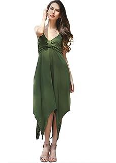 Mujeres Verano sin mangas de cuello en V elástico irregular Back Back Dress