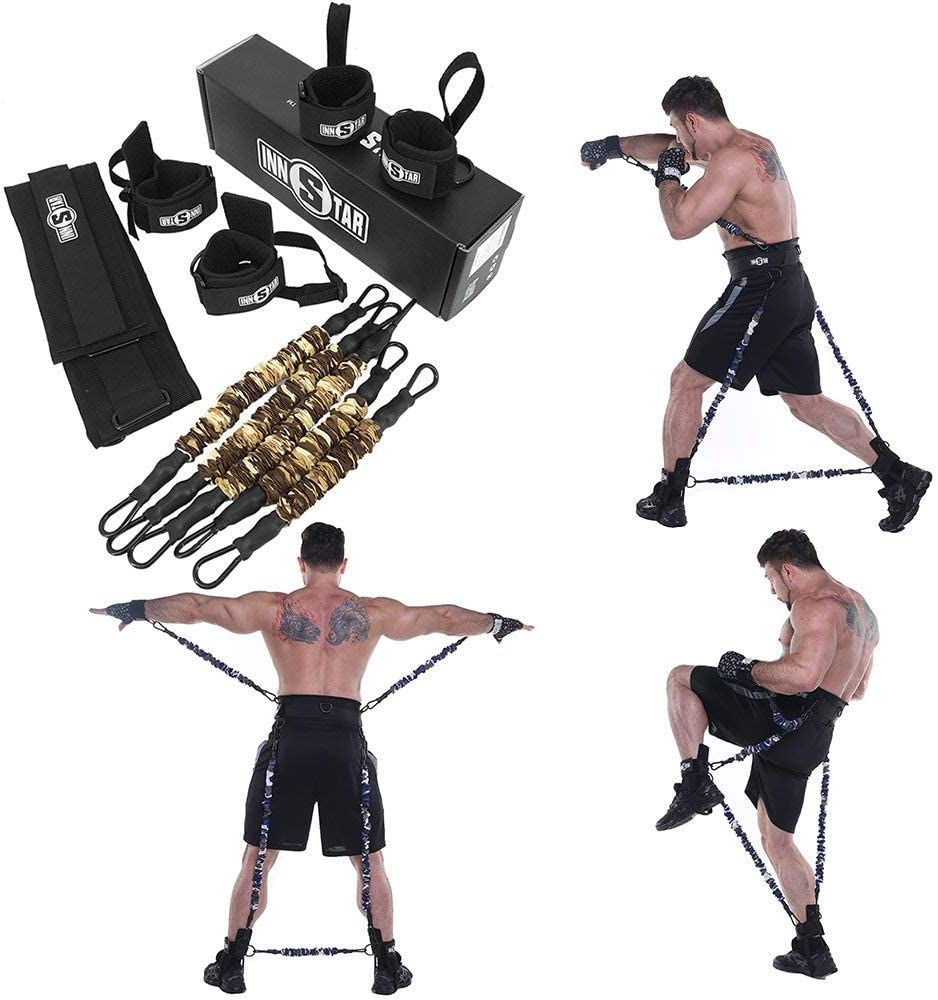 Ranbo Improve Workout Efficiency Body Resistance Bands/Stretching Strap Set,Exercises Leg and arm,for Boxing,MMA,Home Gym, Muay Thai,Sanda,Bouncing Strength Training Equipment,Enhance Explosive Power