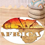 VROSELV Custom carpetAfrican Decorations Collection Africa Map with Wood Tree Texture and Giraffe Figures Fantasy Spiritual Continent Bedroom Living Room Dorm Orange Tan Round 79 inches