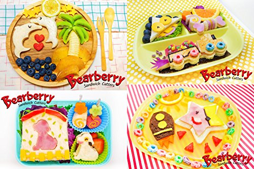 Bearberry Sandwich Cutters, Bread Crust & Cookie Stamp Set - Fun Heart, Dinosaur, Food Shapes for Kids Bento Lunch Box, Boys and Girls - GET FREE Mini Stainless Steel Vegetable & Fruit Press! by Bearberry (Image #6)