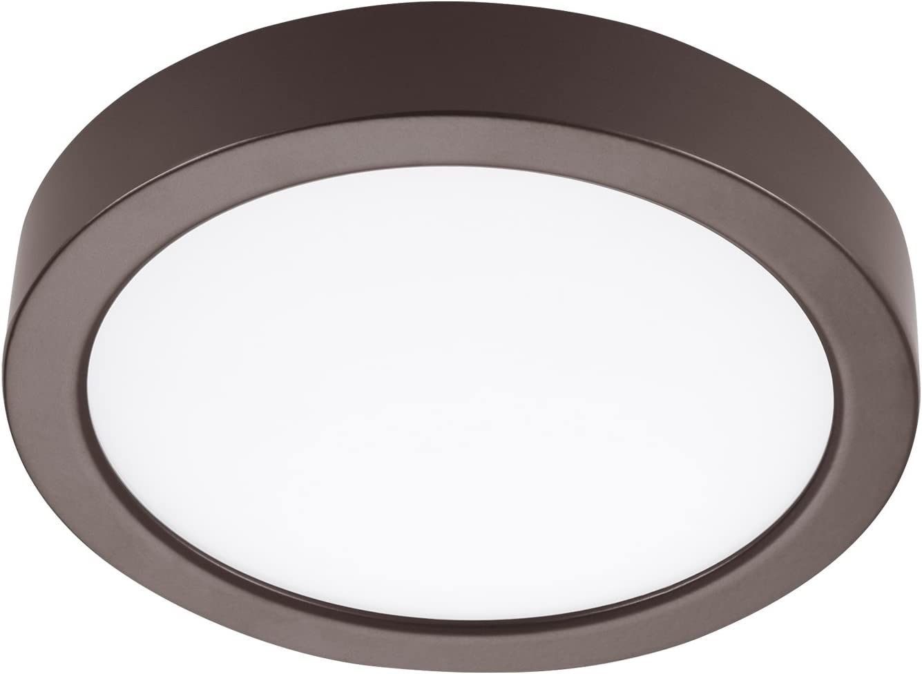 GetInLight Round 6-inch Dimmable Flush Mount Ceiling Fixture, (2nd Generation), 11 Watt, Bronze Finish, 3000K Soft White, 65W Replacement, Damp Location Rated, ETL Listed, IN-0306-1-BZ