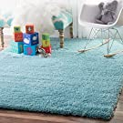 "Soft & Plush Nursery Solid Baby Blue Kids Shag Area Rugs, 5 Feet 3 Inches by 7 Feet 6 Inches (5' 3"" x 7' 6"")"
