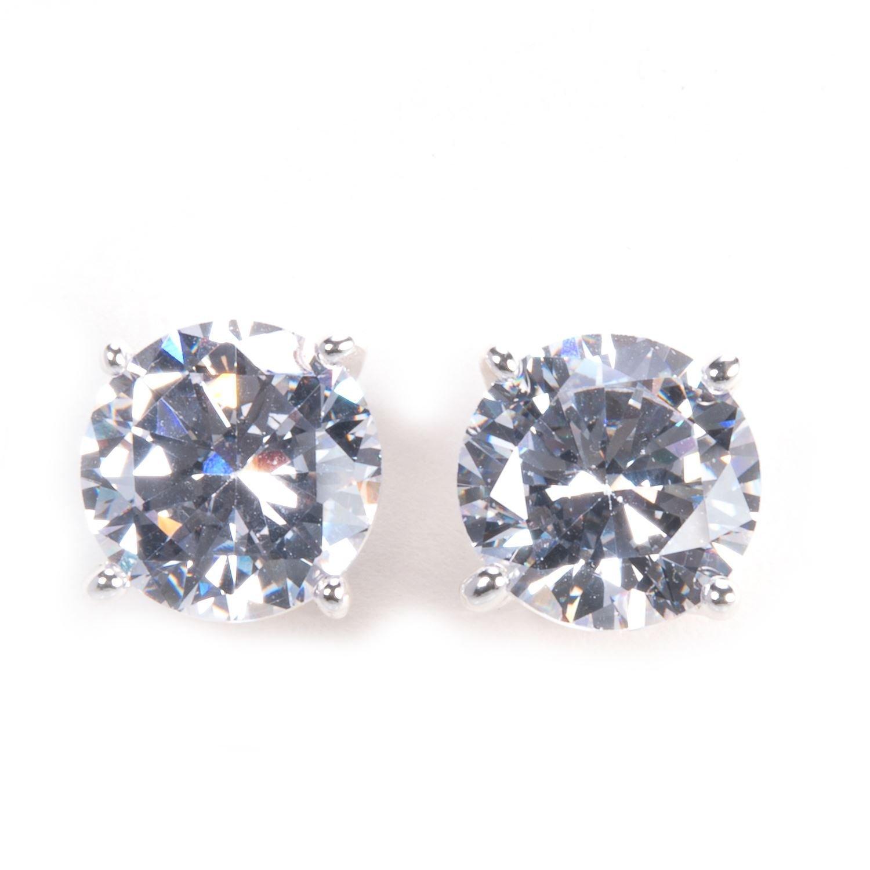 Silver Cubic Zirconia Round Cut Stud Earrings