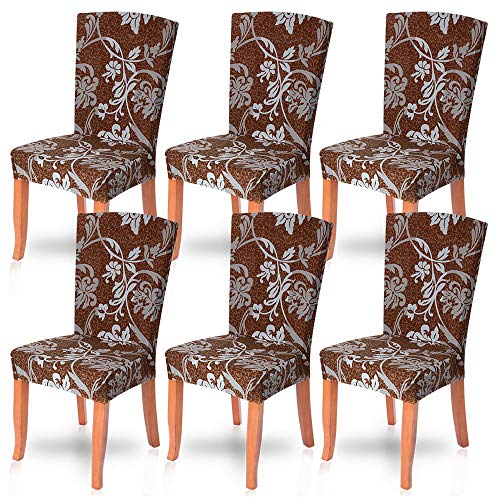 - NIBESSER Stretch Dining Chair Slipcovers Set of 6, Spandex Dining Chair Covers Elastic Chair Protector Seat Covers for Dining Room Wedding Banquet Party Decoration