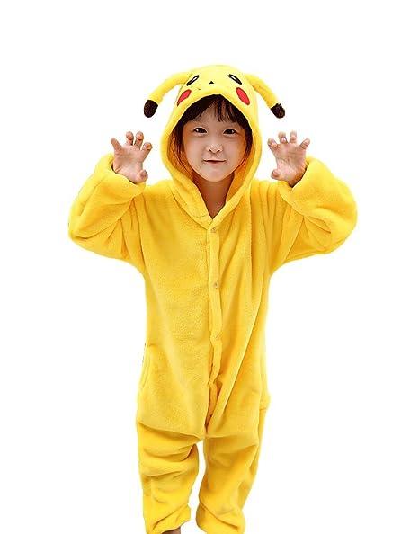Amazon.com  Kids Animal Costume Onesie Girls Boys Pikachu Cosplay  Clothing 488a7105d526