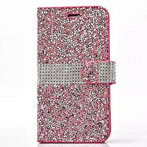 Iphone 6/S Plus Case, Shinny Glitter Jelly Color Full Diamond Rhinestone Magnet PU Leather Stand Wallet Flip Case for Iphone 6/S Plus 5.5