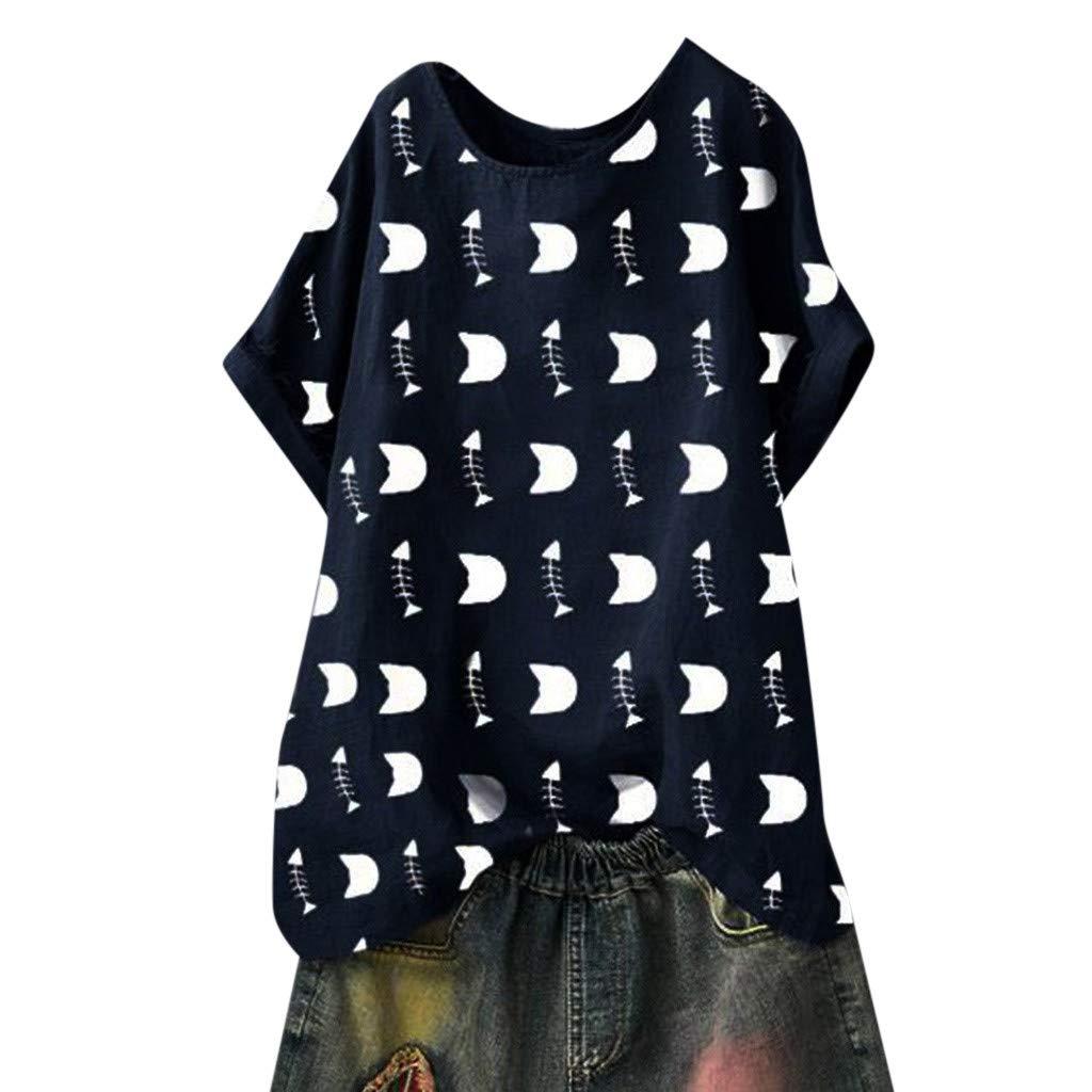 FRAUIT T-Shirt Damen Elegant Drucken Sommer Bluse Ice Silk Wrinkle Kurzarm Rundkragen Shirt Lose Stretch Basic Tee Freizeithemd