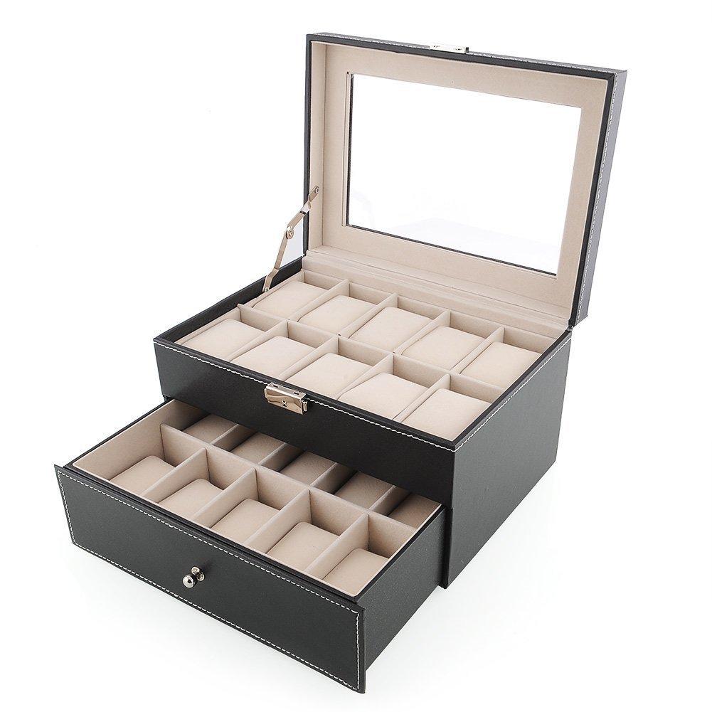 Amzdeal Scatola porta orologi 20 nero doppio Scatola collezione di orologi Guarda box Guarda display Box Scatola collezione di orologi con Finestrella di vetro (20 orologi) pelle PU