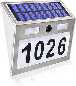 Comboss Solar House Number Plaque Light with 200LM Motion Sensor LED Light Address Number for Home Garden, Customized Letter & Number