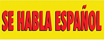 Half Price Banners Se Habla Espanol Vinyl Banner Indoor Outdoor 3x8 Foot Yellow Includes Ball Bungees Zip Ties Easy Hang Sign Made In Usa Office Products