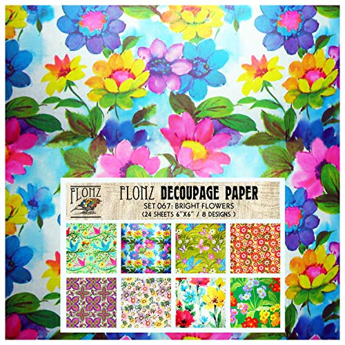 """Decoupage Paper Pack (24 Sheets 6""""x6"""") Bright Flowers FLONZ Vintage Styled Paper for Decoupage, Craft and Scrapbooking"""