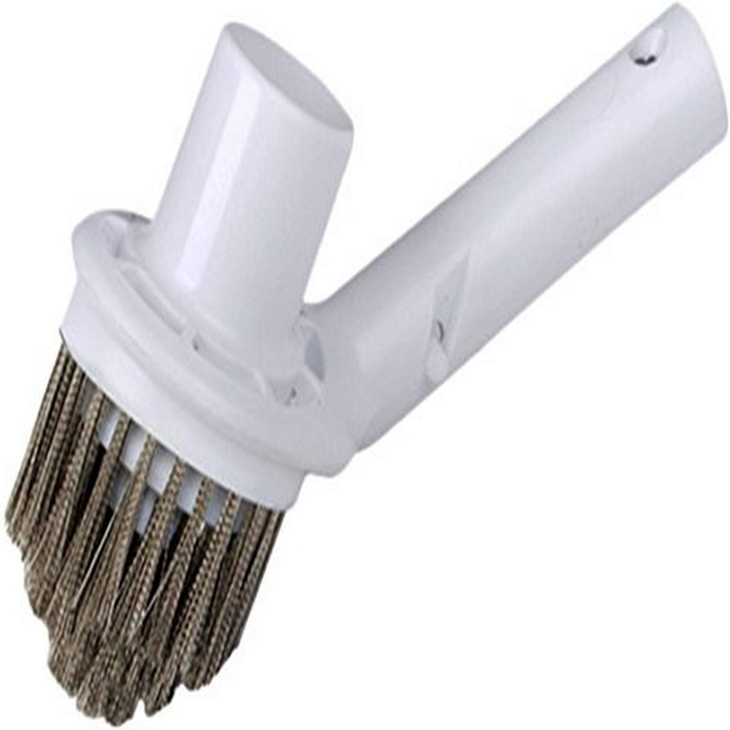 Pooline Corner Brush with Vacuum Connection - White Brush Body and Handle - Stainless Steel Bristles