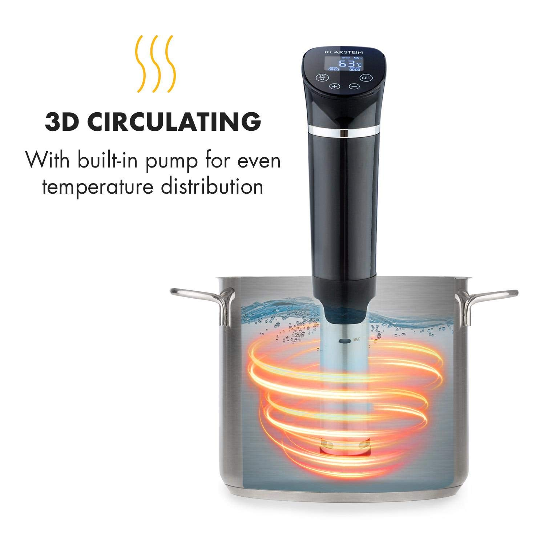 Macchina sottovuoto e pellicola 1300 Watt, 20 litri, termostato, timer, display touch screen LCD KLARSTEIN Quickstick Set roner circolatore ad immersione per la cottura sous vide