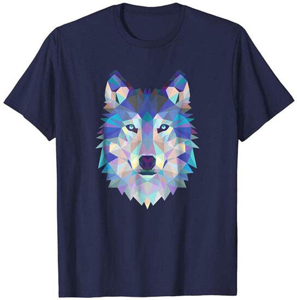 popularshop Wolf Geometric Art Howling Moon Animal Graphic T-Shirt