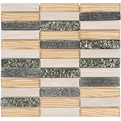 Decorative Insert Tile Flooring (Modket TDH35MO Champagne Wave Metallic Cold Spray, White Oak Marble Mosaic Tile, Deco Insert Blend Stacked Pattern Backsplash)