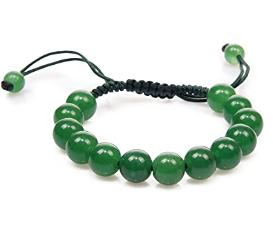 and center emerald shell piece bead bracelet forest with jade beaded dark green