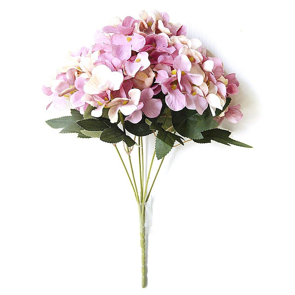 Junda人工花プラスチックフラワープラスチック紫陽花フラワーDIYウェディングブーケインドア外庭パティオDecor パープル Junda-123 B0781M71FH パープル